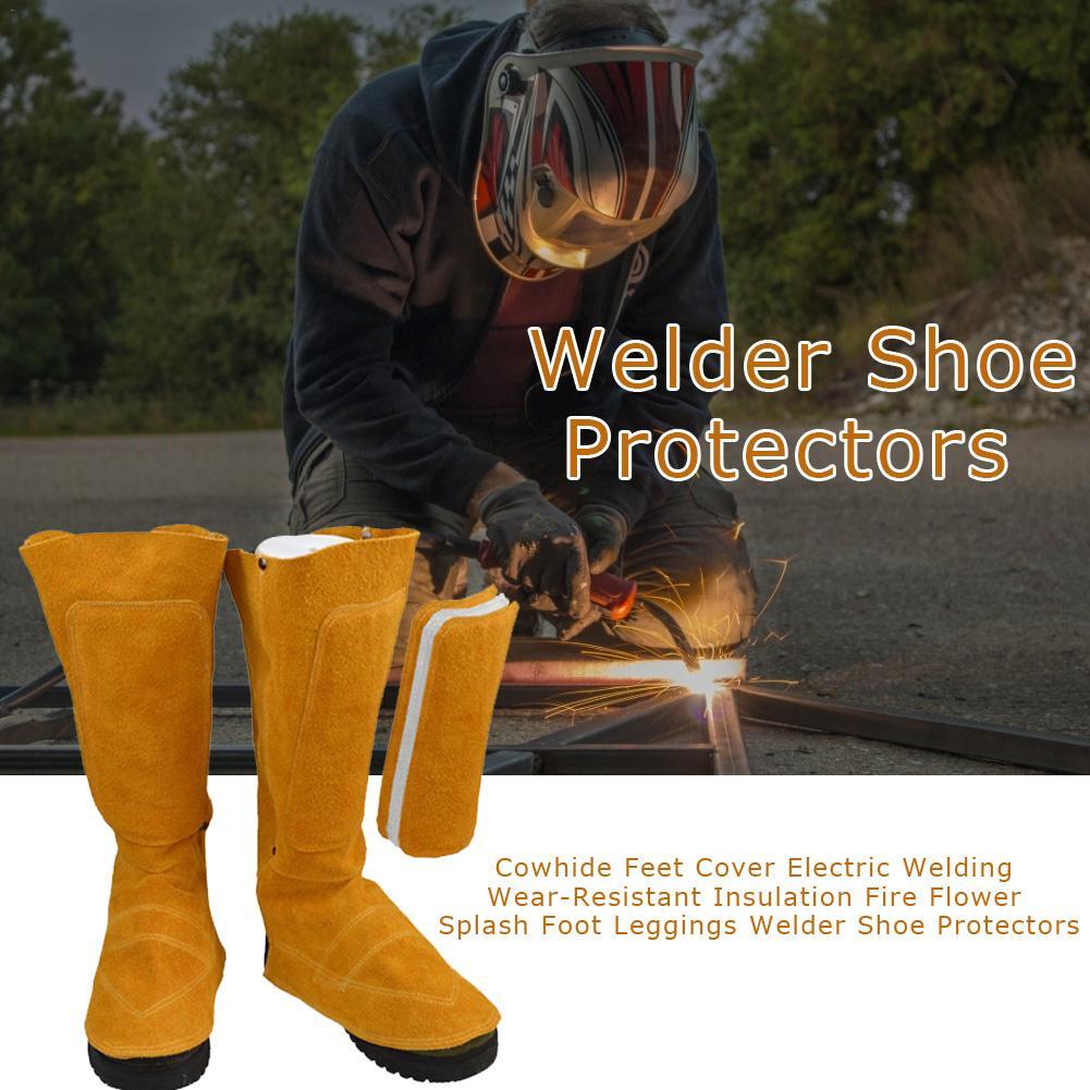 Cowhide Feet Cover Electric Welding Wear-Resistant Insulation Fire Flower Splash Foot Leggings Welder Shoe Protectors