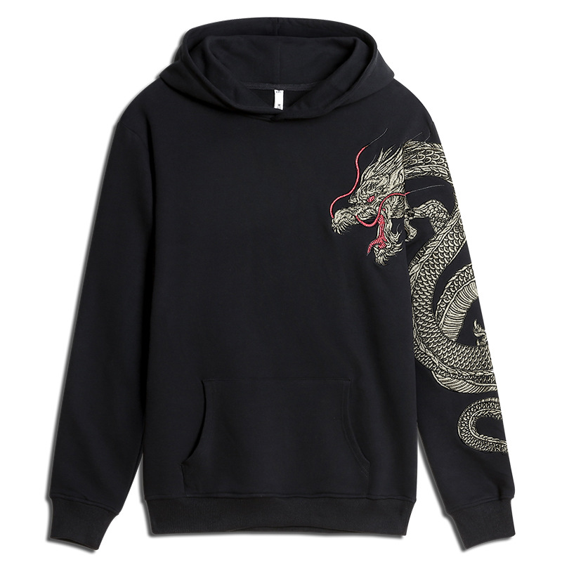 Dragon Embroidered Hoodie Men'S Wear Chinese-style Coat Country Trend Mascot Ethnic-Style Dragon Robe Popular Brand Hooded Tops