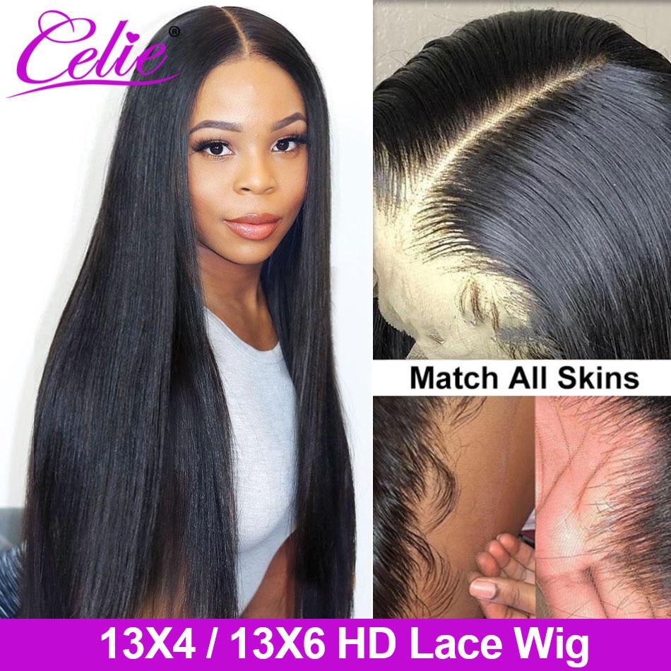 Парик Celie HD на сетке, передний, al, прямой, 13X6, парик из человеческих волос на сетке, HD, прозрачный, на сетке, передний, al парик, парик на сетке 4x4