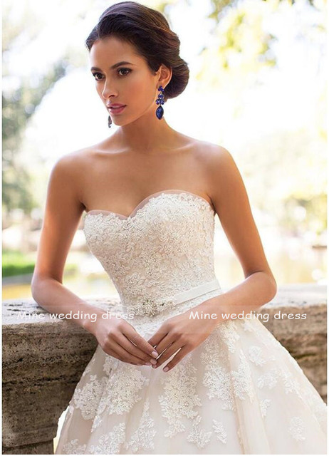 Glamorous Sweetheart Neck Wedding Dress Vestidos de Novia 2021 Lace Appliques with Belt Lace Up Wedding Gowns Robe Mariage 3