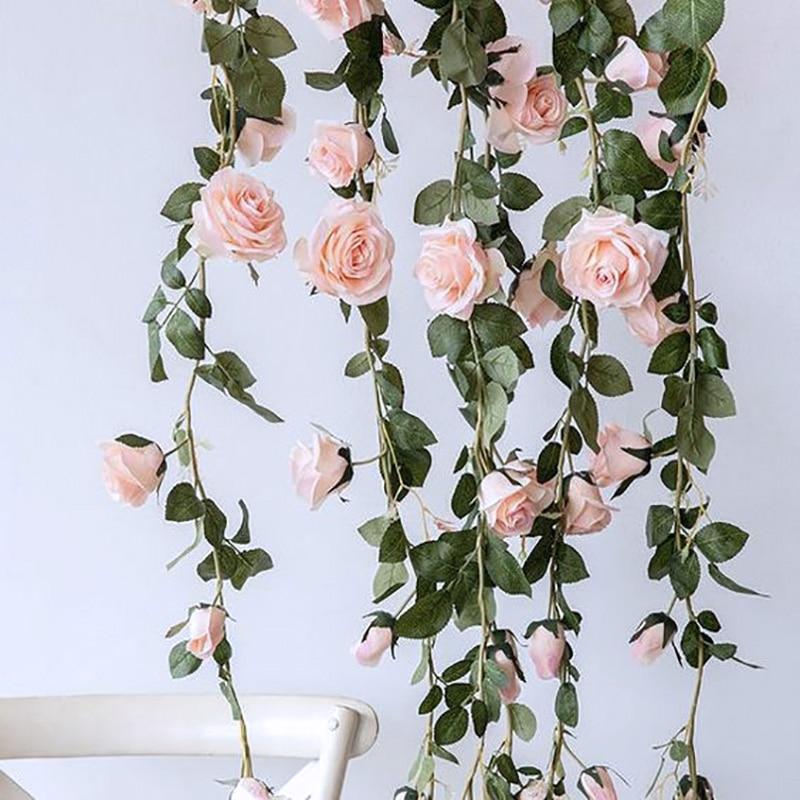 Artificial Flower Fake Silk Rose Leaf Garland Ivy Wedding Table Hanging Decor Uk