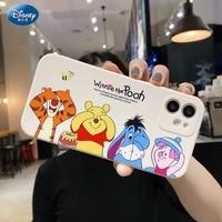 DISNEY-funda de silicona Winnie the Pooh para IPhone, 11, 12Pro, Xs Max, iPhone SE 2020, 6, 7, 8 Plus, cubierta completa de silicona líquida oficial, 360