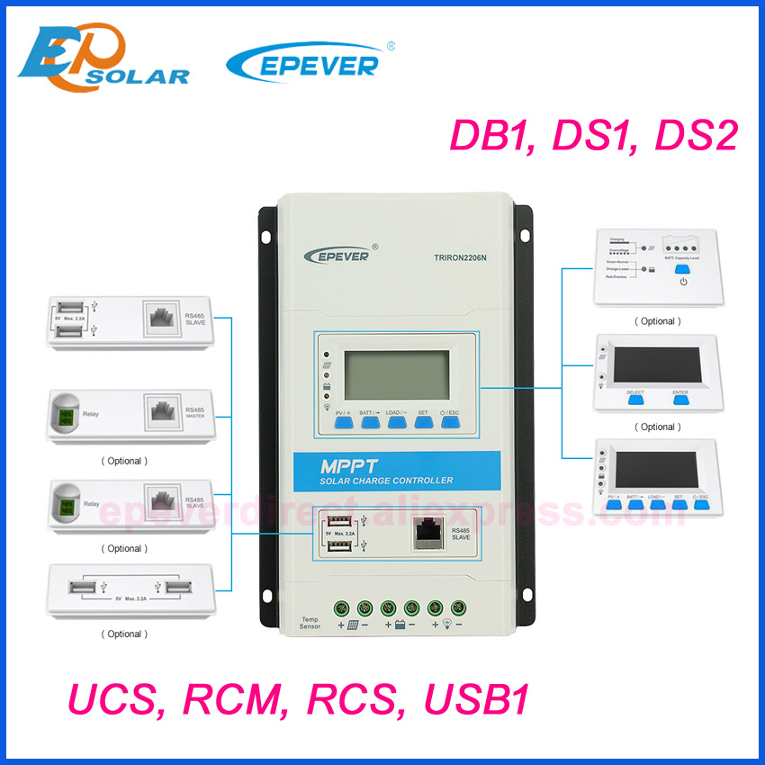 EPever serie TRIRON accesorios 10A 20A 30A 40A controlador de carga Solar LCD interfaz Modular DS1 DS2 UCS envío gratis Controladores solares    - AliExpress