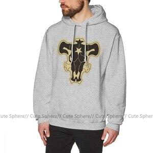 Image 4 - Zwarte Klaver Hoodie Zwart Clover Black Bulls Hoodies Outdoor Katoen Pullover Mannen Warm Blauw Grote Lange Lengte Hoodies