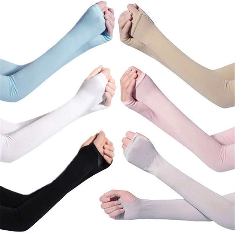 Ice Silk Arm Sun Sleeves Long Sunblock Ice Silk Cooler Sleeves Arm Cover With Thumb Hole For Running Biking Driving