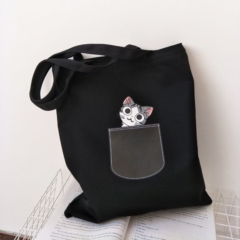 Canvas Tote Bag For Women Cloth Cartoon White Cross Body Shoulder Bag New Cute Cat Dog Shopping Bags Female Party Handbag