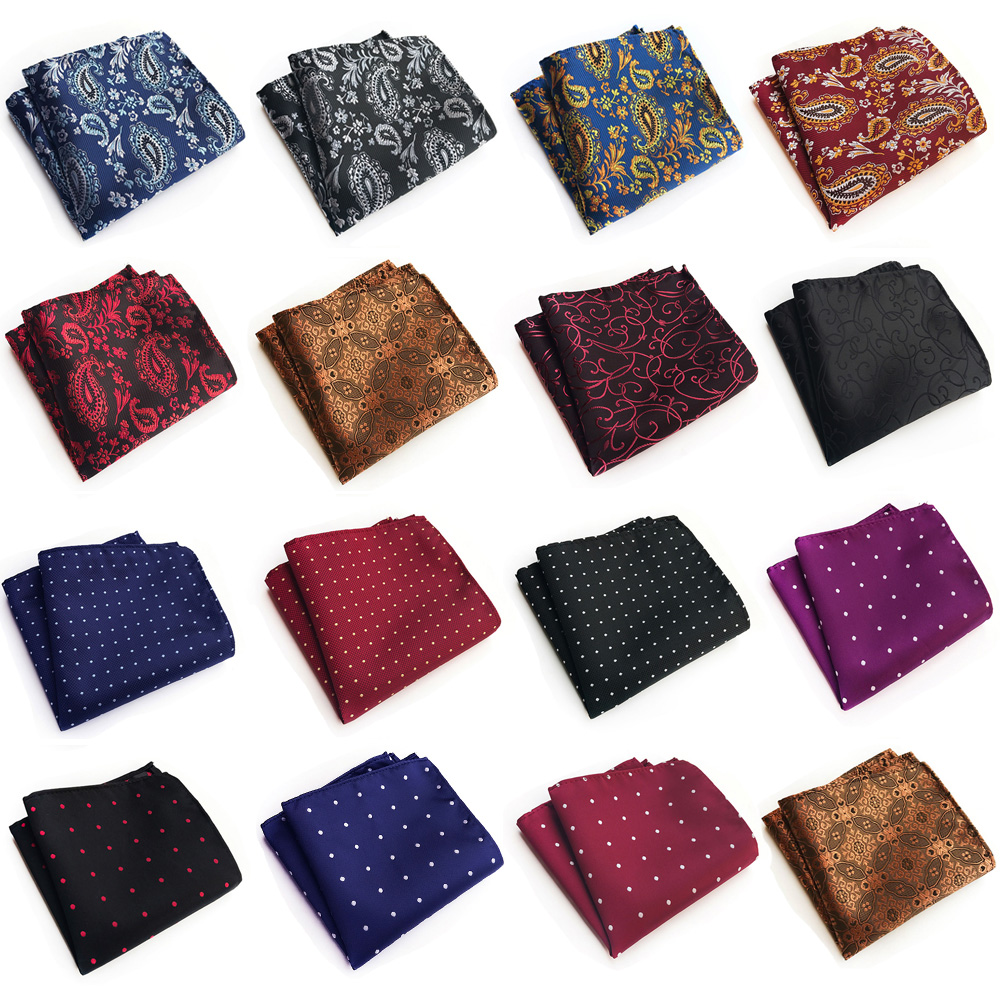 Mens Handkerchief Paisley Floral Polka Dots Jacquard Formal Pocket Square Hanky