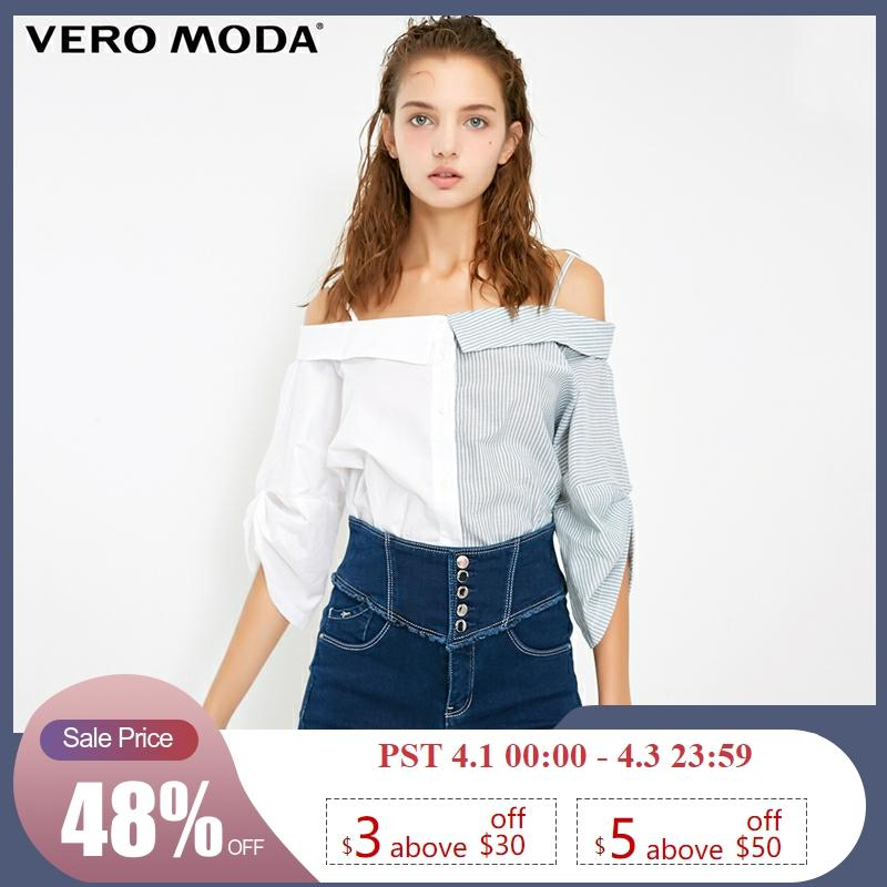 Vero Moda Women's Assorted Colors Shoulder Straps 3/4 Sleeves Shirt Blouse   318331573