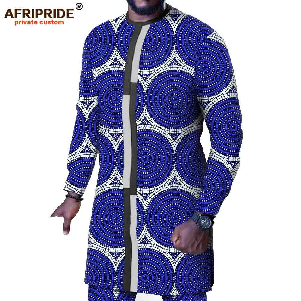 Men`s Suit African Print Shirts Ankara Pants Set Dashiki Clothing Tribal Outfit Wax Attire Traditional Set AFRIPRIDE A1916068B