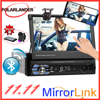 Retractable1 DIN 7 inch Car Radio Mirror Link HD Touch Screen MP5 MP4 player Bluetooth USB/TF/FM Support Rear Camera 3 Languages