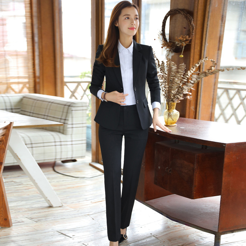 Business Pants Set High Quality 2019 New Single-breasted Solid Color Women's Suit Casual Slim Trousers Two-piece Skirt Suit