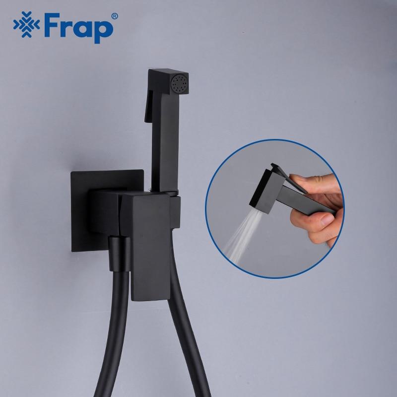 Frap Matte Black Bidet Shower Faucet Solid Brass Bidet Faucet Muslim Ducha Higienica Mixer Tap Toilet Faucets Y50060/1