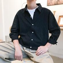 2019 Hong style mens summer sleeves Striped Korean version lapel students the loose wild youth Long shirt camisas