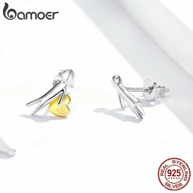 bamoer Valentines Day Series  925 Stelring Silver Accepet My Heart Lover Couple Stud Ear Pin 925 Sterling Silver Jewelry SCE851