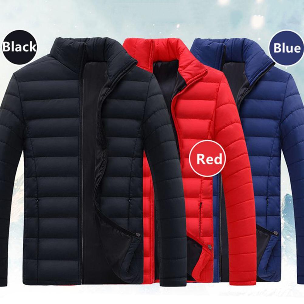 Cotton Jacket Men Parka Mont Mens Coat Abrigo Collars Zippers Warm Casual Bussiness Stand