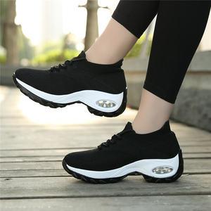Image 1 - MWYแฟชั่นรองเท้าผ้าใบบินทอรองเท้าสบายๆผู้หญิงกลางแจ้งBreathable Trainers Zapatillas De Mujer Wedgesรองเท้า