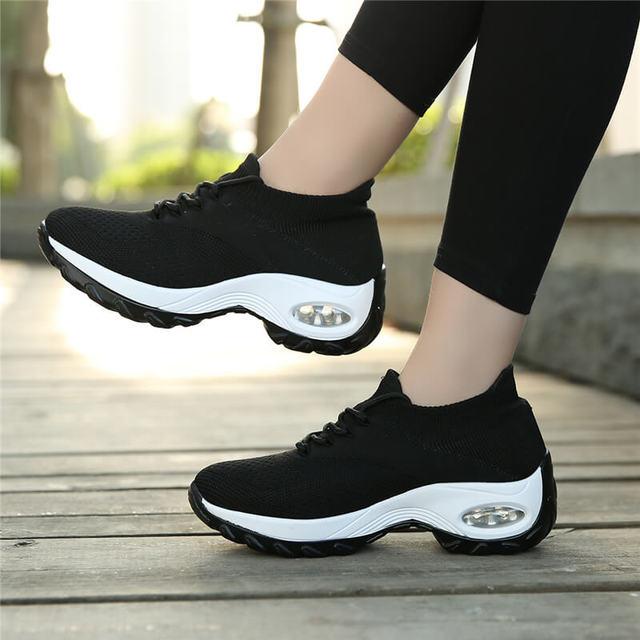 MWYแฟชั่นรองเท้าผ้าใบบินทอรองเท้าสบายๆผู้หญิงกลางแจ้งBreathable Trainers Zapatillas De Mujer Wedgesรองเท้า