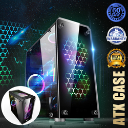 S SKYEE Mini ATX Gaming Computer PC Cases Towers Glass Panel Desktop Computer Mainframe Full-side Transparent Chassis