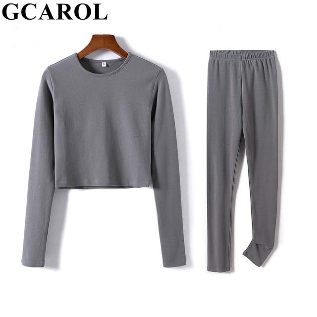 GCAROL 2021 Women'sets 2 Pcs 95% Cotton Sexy Crop T-shirt Hip Lift Yogo Legging Stretch Fitness Breath Tees Full Length Pants 1