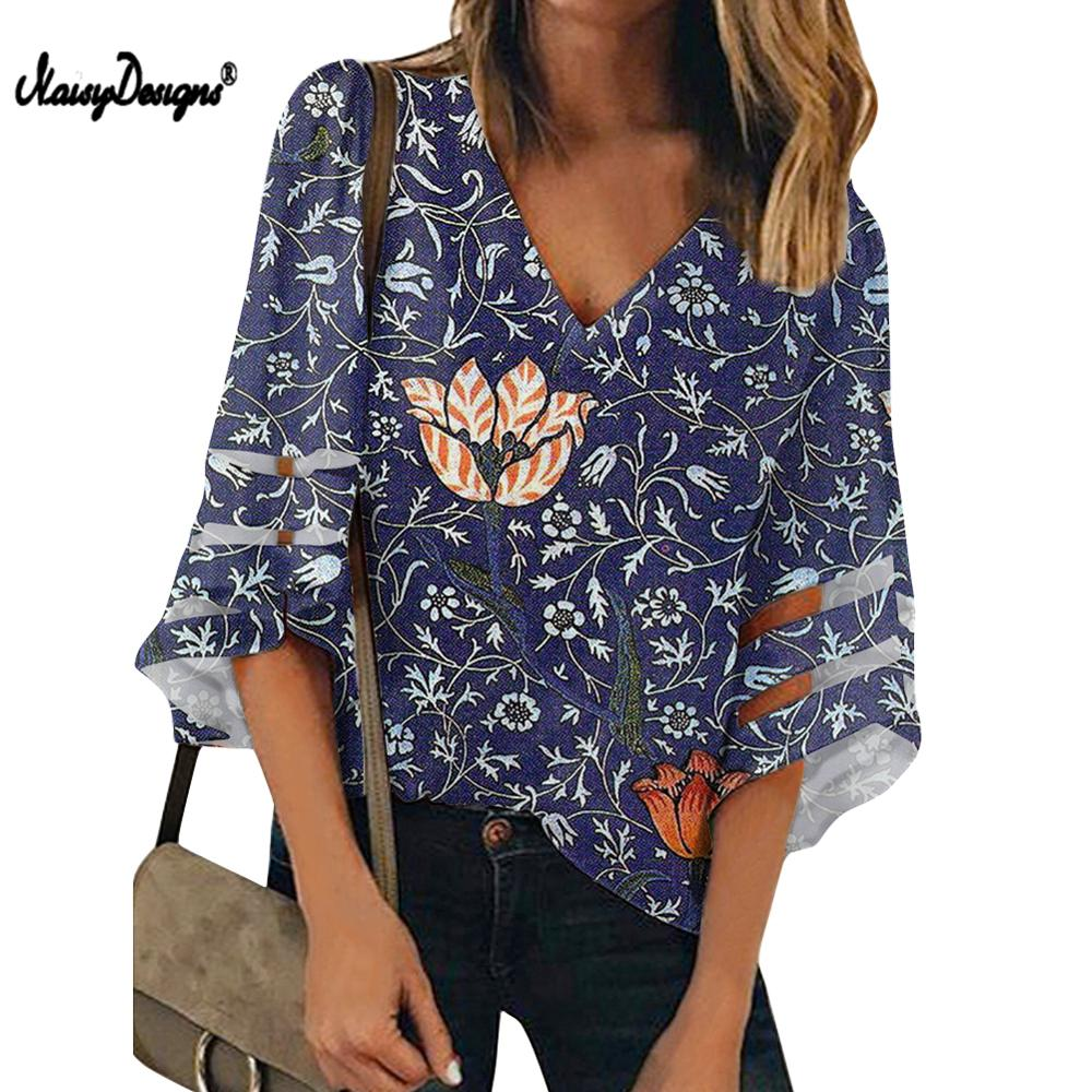 Vintage William Morris Pimpernel Floral Fabric Woman Blouses Shirts V Neck 3/4 Batwing Sleeve Chiffon Blouse Loose Top Shirts