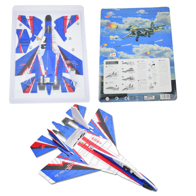 Kid bricolage modèle avion Assemb led planeur électrique EPP mousse main jet avion vol Simulation combattant avec lumière LED jouets de jeu 6