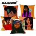 Африканская мода для девочек, картина маслом, красочные женские украшения для дома, диван, наволочка для подушки, хлопок, пеньковая наволочк...