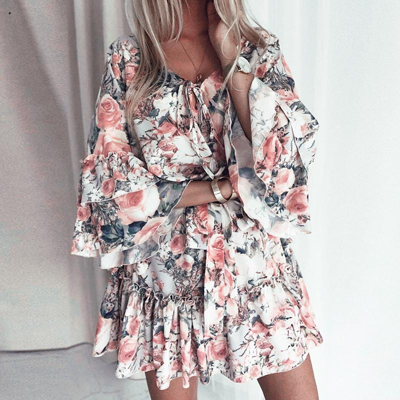 Fargeous Boho Print Holiday Short Dress Summer Women Fashion V Neck Lace Up Ruffle Flaral Sleeve Mini Dress Casual Beach Vestido