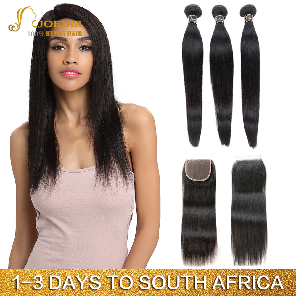 Joedir Hair Human Hair Weave 3 4 Bundles With Closure Brazilian Straight Weave Non Remy Hair 28 30 Inch Bundles With Closure