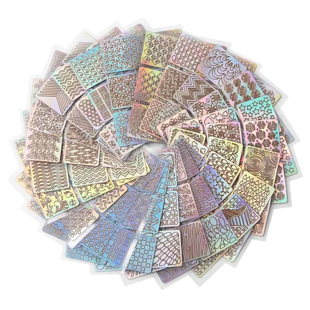 12 листов дизайн полосы волнистые полые печатные штампы для ногтей шаблон искусства наклейки для ногтей самоклеющиеся инструменты для маникюра