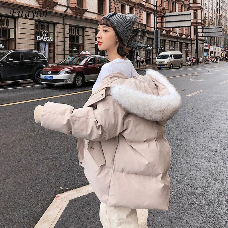 Fitaylor 2019 Women Short   Parkas   Loose Cotton Coats Winter Faux Fur Collar Warm Snow Hooded Jackets Casual Warm Snow Outwear