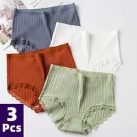 3PCS Hot Sale Cotton Panties Comfotable Seamless High Waist Women's Panties Solid Lace Briefs Underwear Sexy Plus Size Underpant 1