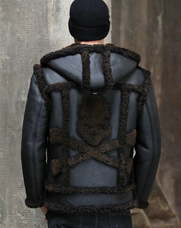New Mens Shearling Jacket Men Detachable Sleeve Genuine Fur Leather Jackets And Coats Fur One Sheepskin Leather Winter Coat