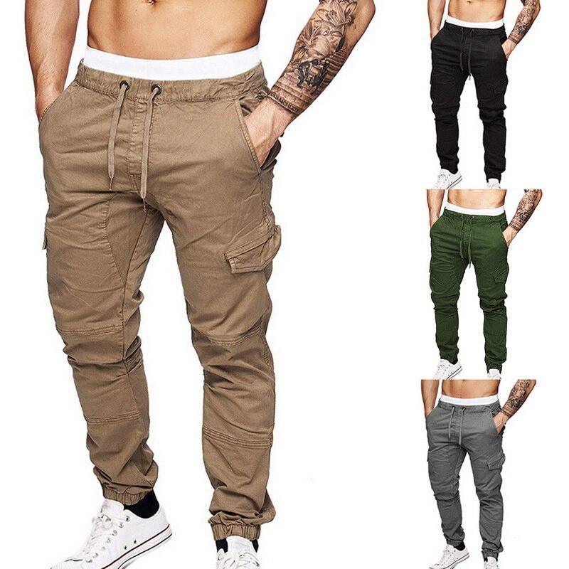 SHUJIN Casual Pants Solid Color Drawstring Men Cargo Pant Multi Pocket