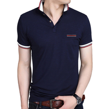 BROWON Casual Summer Short Sleeve T-shirt Turn-down Collar Business Formal T-shirt Slim Fit Men Clothes Plus Size
