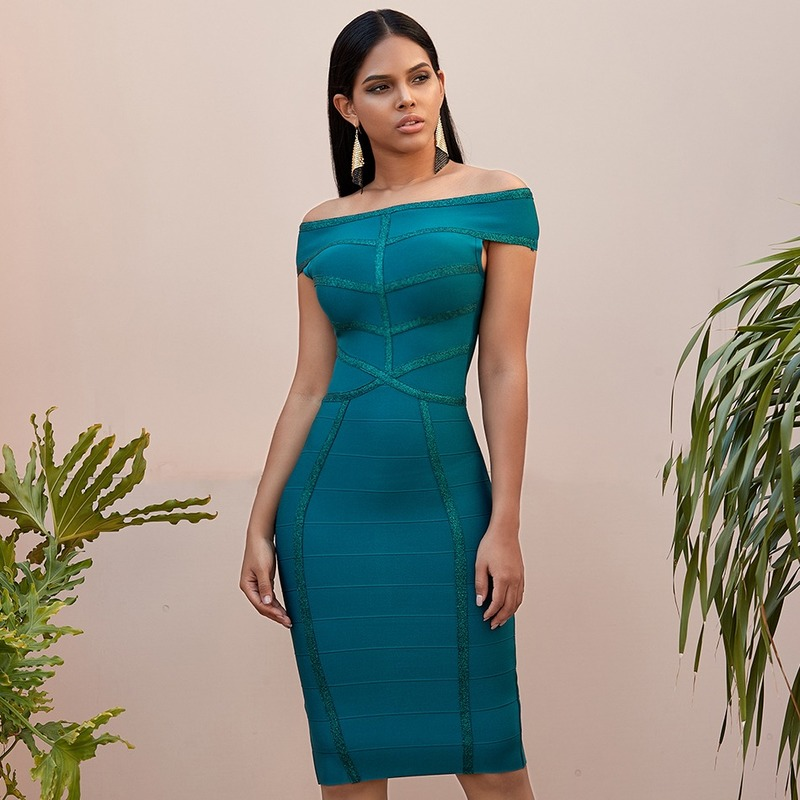 Robe De Soiree Sexy Green Evening Dress Off The Shoulder Club Bandage Dress Slim Short Sleeve Celebrity Evening Party Dresses