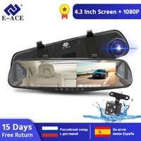 E-ACE 4.3 pouces voiture Dvr caméra Full HD 1080P automatique caméra rétroviseur avec DVR et caméra enregistreur Dashcam voiture DVRs