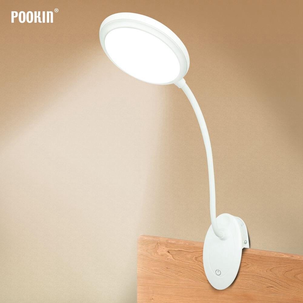 Usb Oplaadbare Led Bureaulamp Flexibele Zwanenhals Touch Dimmen Tafellamp Clip On Lamp Voor Boek Bed En Computer 3 kleur Modi