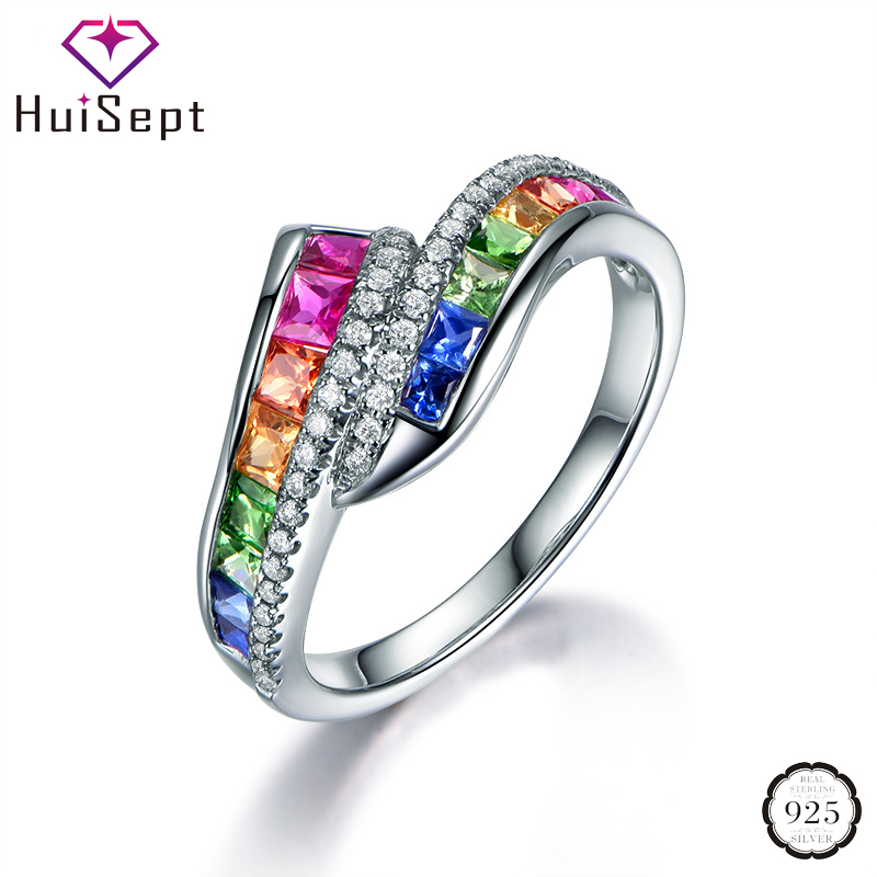 HuiSept Silver 925 Ring Geometric Shape Colorful Topaz Zircon Gemstones Fashion Jewelry for Women Wedding Party Wholesale Rings