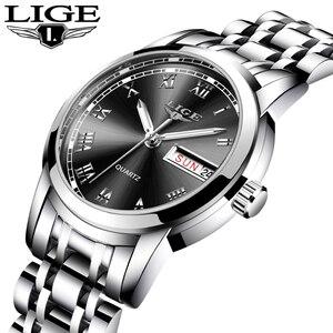 Image 2 - LIGE Fashion Women Watches Ladies Top Brand Luxury Stainless Steel Calendar Sport Quartz Watch Women Waterproof Bracelet Watch