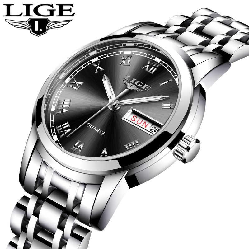 LIGE moda damska zegarki top damski marka luksusowy kalendarz ze stali nierdzewnej Sport zegarek kwarcowy kobiety wodoodporny zegarek z bransoletką
