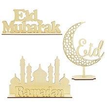 Eid Mubarak decoración Luna de madera colgante artesanal el Islam musulmán fiesta decoraciones Ramadán de Ramadán Kareem Eid Al Adha