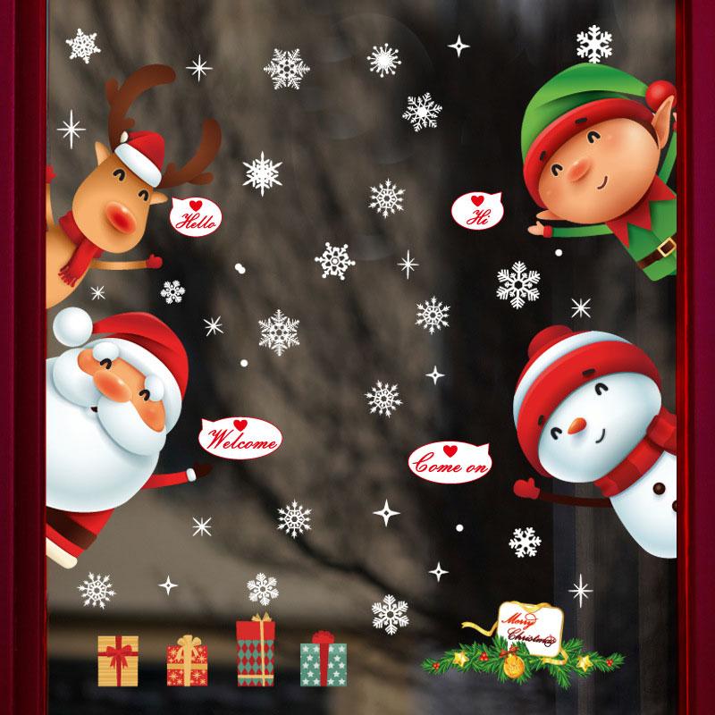 Lápiz de Navidad de dibujos animados para escaparate de ventana extraíble Santa Claus muñeco de nieve decoración del hogar un