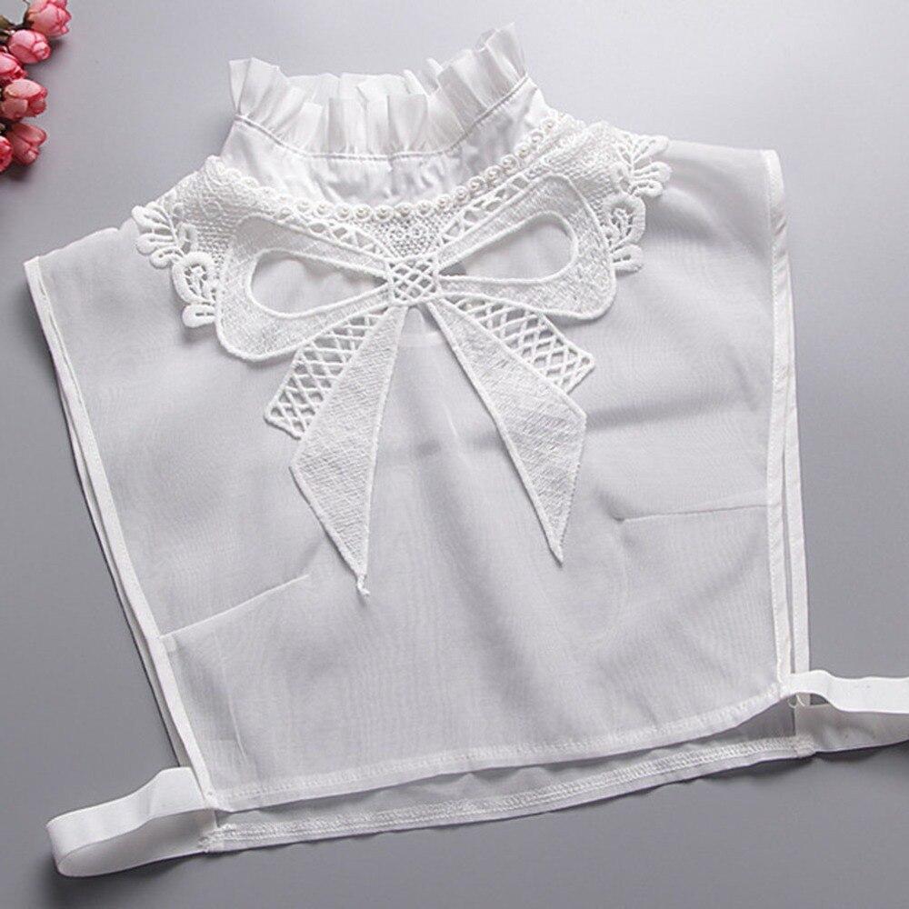 Bow Lace Fake Collar White Tie Vintage Detachable Collar False Collar Lapel Blouse Top Women Clothes Accessories Valse Kraag