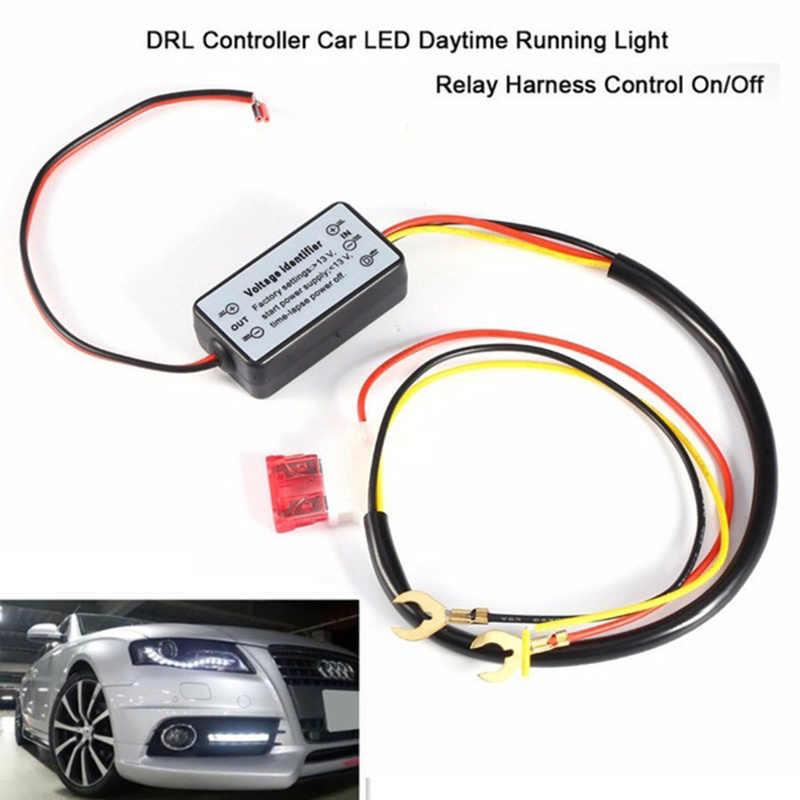 1 unidad Led para coche Luz de circulación diurna arnés de relé Control DRL encendido/apagado interruptor automático de Cable de relé auto partes interiores