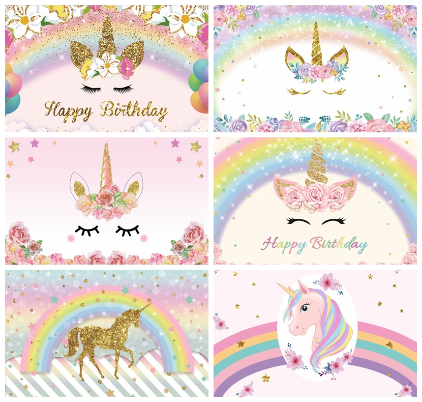 Unicorn Background For Photography Birthday Party Rainbow Flower Balloon Baby Poster Photography Backdrop Photocall Photo Studio