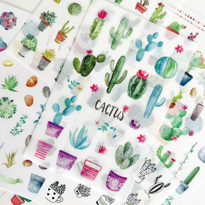 6 Sheets/Pack Green Cactus PVC Stickers Decorative Album Diary Hand Account Decor