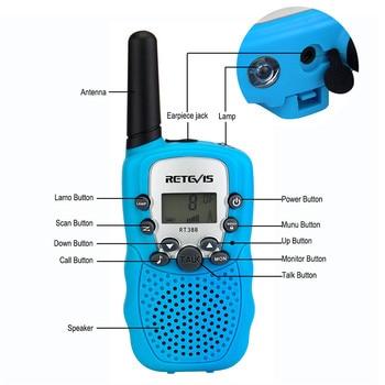 2pcs Mini Walkie Talkie Kids Radio Station Retevis RT388 0.5W PMR PMR446 Two-way radio Flashlight Communicator Christmas Gift 1