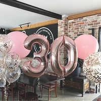 16/32inch numéro feuille ballon or Rose argent bleu Discolor numérique ballon fête d'anniversaire décoration bébé douche boule fournitures