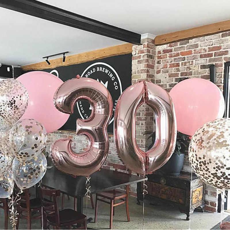 16/32 pulgadas Número de globo de papel de aluminio Rosa oro plata azul Discolor globo Digital fiesta de cumpleaños decoración Baby Shower Ball suministros