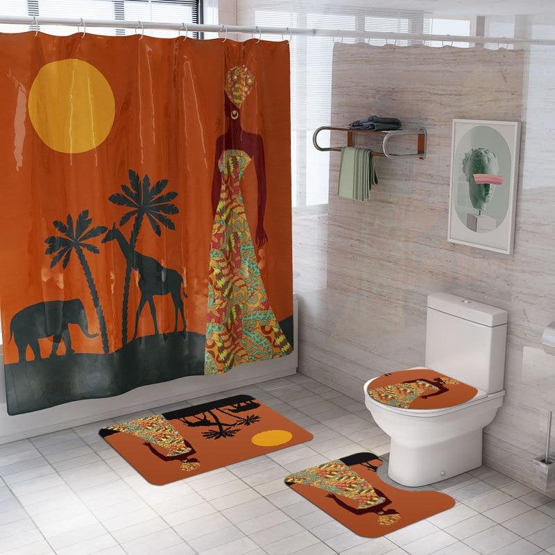 African Girl Elephant Shower Curtain Carpet Bathroom Sets African